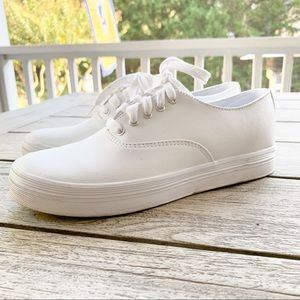 KEDS Classic White Leather Platform Sneakers 7.5